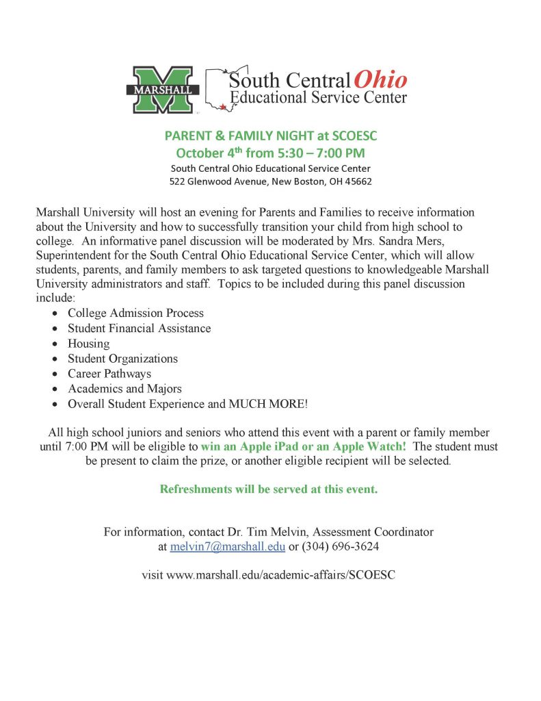 Marshall University Events For South Central Ohio Juniors Seniors