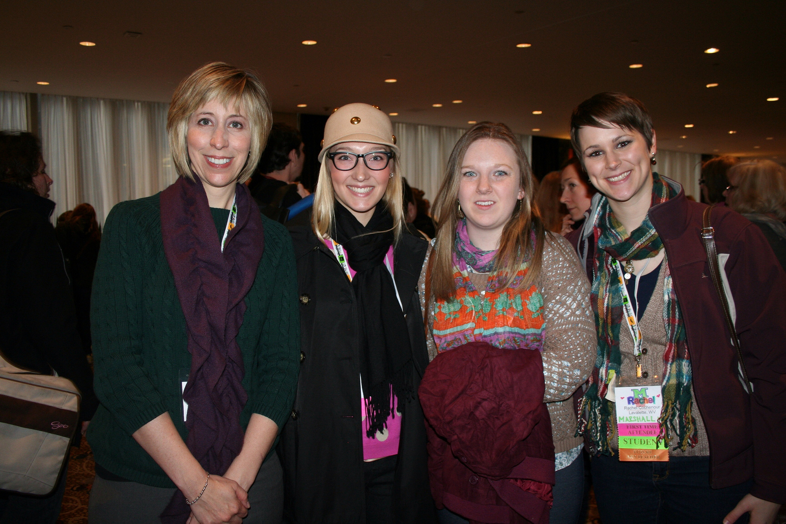 Professor Maribea Barnes with students at an Art Education conference.