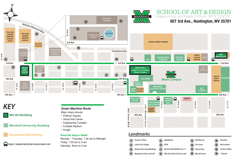 Marshall University Campus Map Map to Art Facilities   College of Arts and Media   School of Art
