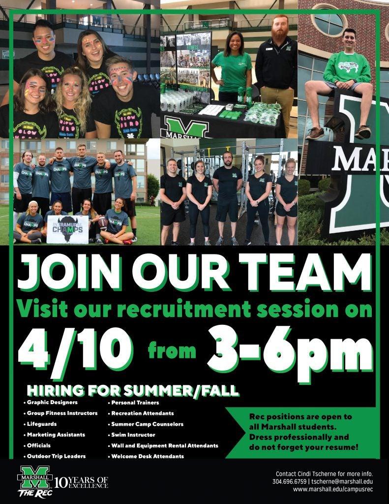 Employment Opportunities - Campus Recreation - Marshall University