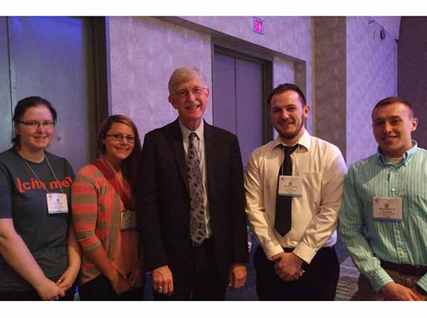 Marshall students with NIH Director Dr. Francis Collins (center) at the 2016 American Society for Biochemistry and Molecular Biology national meeting in San Diego, CA. Left to right: Alexis Kastigar, Shelley Naylor, Collins, Nick Kegley, Brandon Murdock.Marshall students with NIH Director Dr. Francis Collins (center)