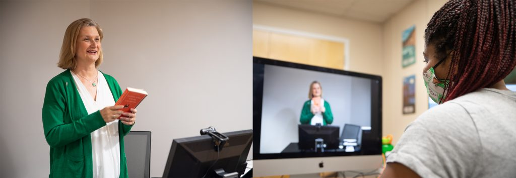 Photograph of a professor and student demonstrating Virtual course delivery.