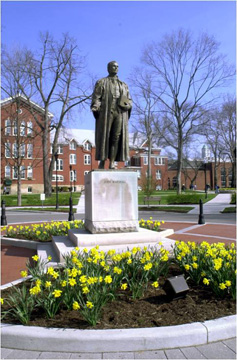 Statue of Chief Justice John Marshall on the Marshall University Huntington campus