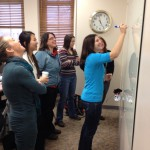 Faculty in the Fall 2013 FYS Institute collaborate in active learning strategies.
