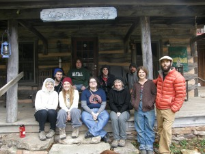 Dr. Fondren and students at Woods Hole Hostel on the Appalachian Trail near Pearisburg, VA, October 2012