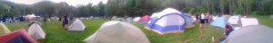 Students and hikers camping together at Tent City during the annual Trail Days Festival in Damascus, VA, May 2013.