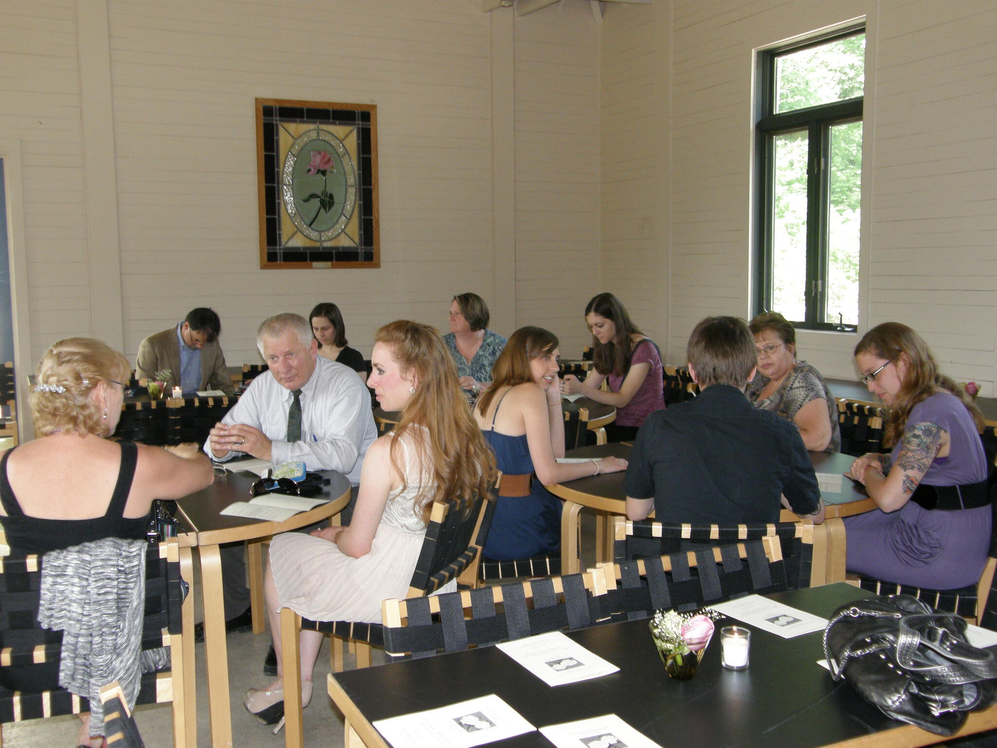 Parents and students enjoying hors d'oeuvres at the wine and cheese reception during the Spring Awards Ceremony, May 2012, at Ritter Park.