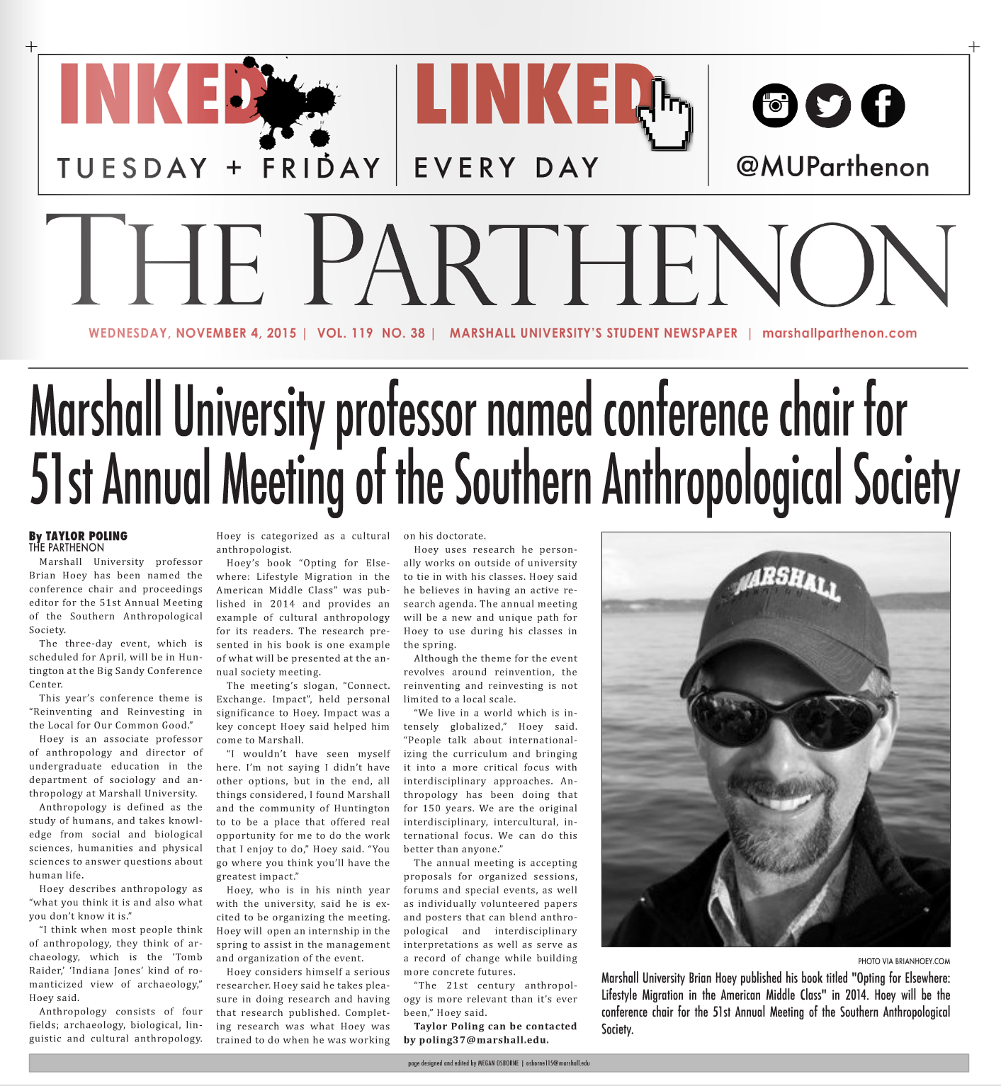 MU Parthenon Article on Hoey (Anthropology)