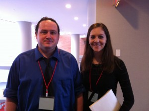 Sociology MA alum (Dawson, left) and candidate (Orsini, right) at the NCSA, 2014