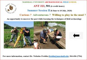 MU Archaeological Field School Poster for Summer 2020, A Summer Research Opportunity