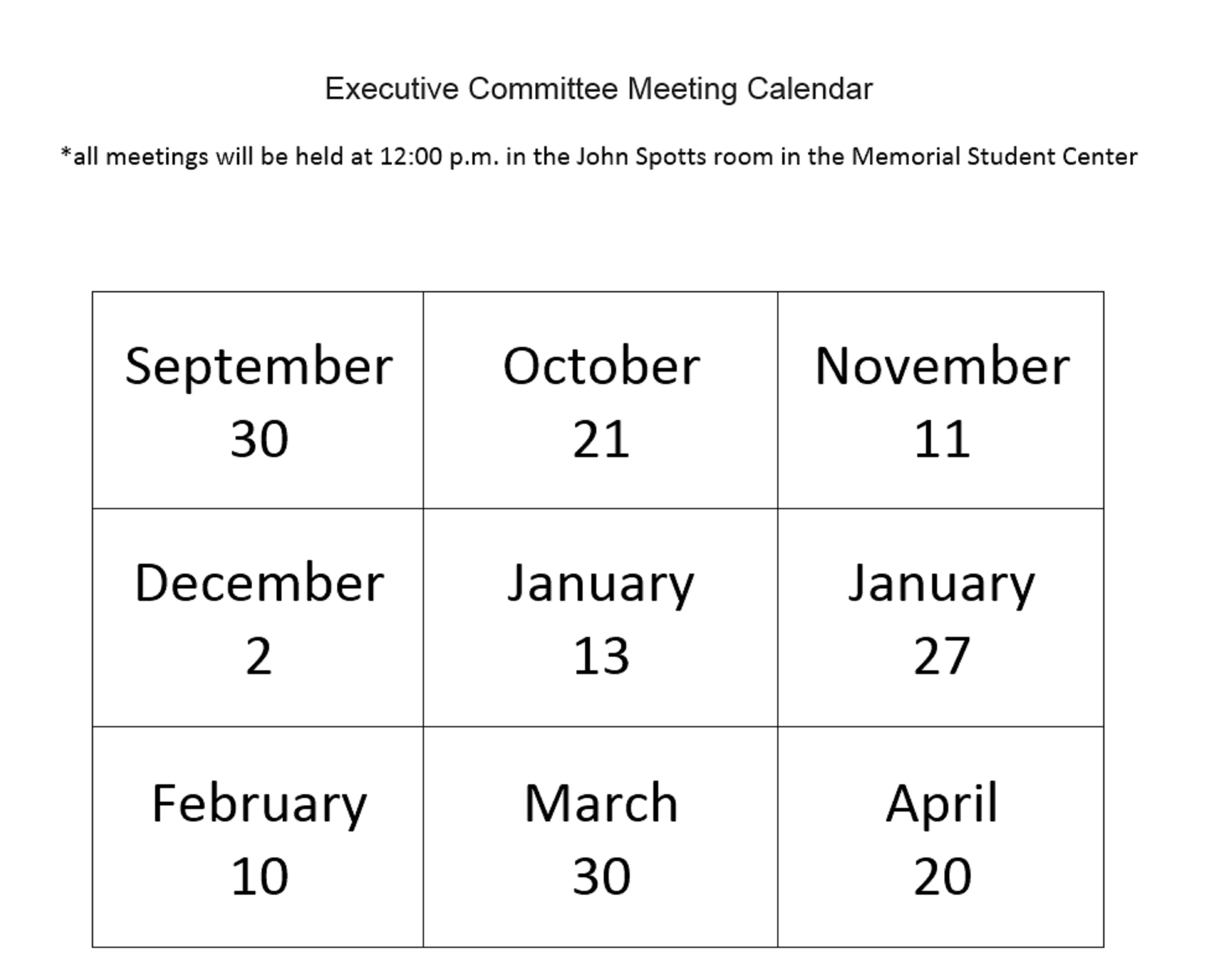 Senate Calendar December 2020 Executive Committee Calendar   Faculty Senate   Marshall University