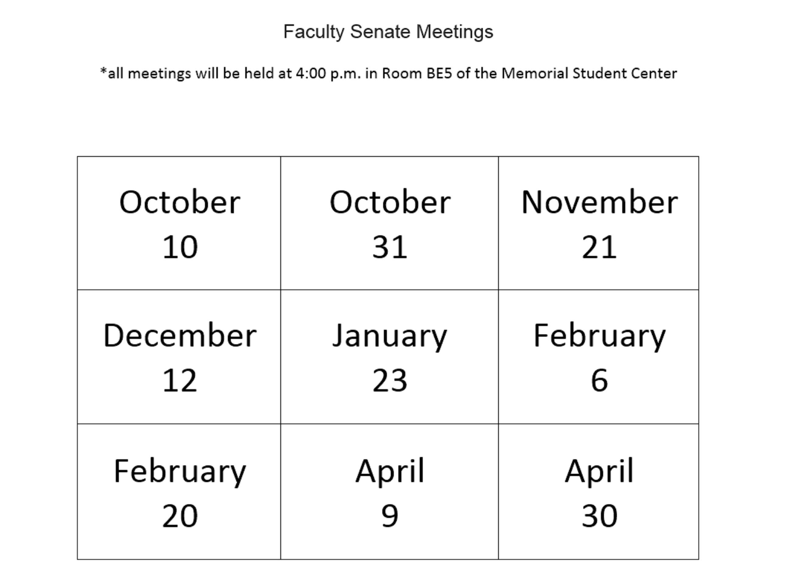 Senate 2020 Calendar Faculty Senate Calendar   Faculty Senate   Marshall University