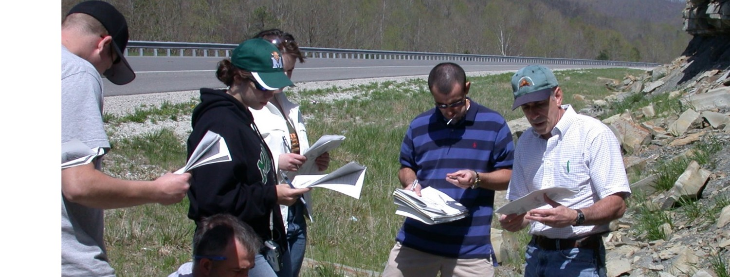 Marshall Geology students working in the field along the AA Highway in Kentucky