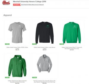Order Page for the Fall 2019 Apparel Fundraiser for the HCSA