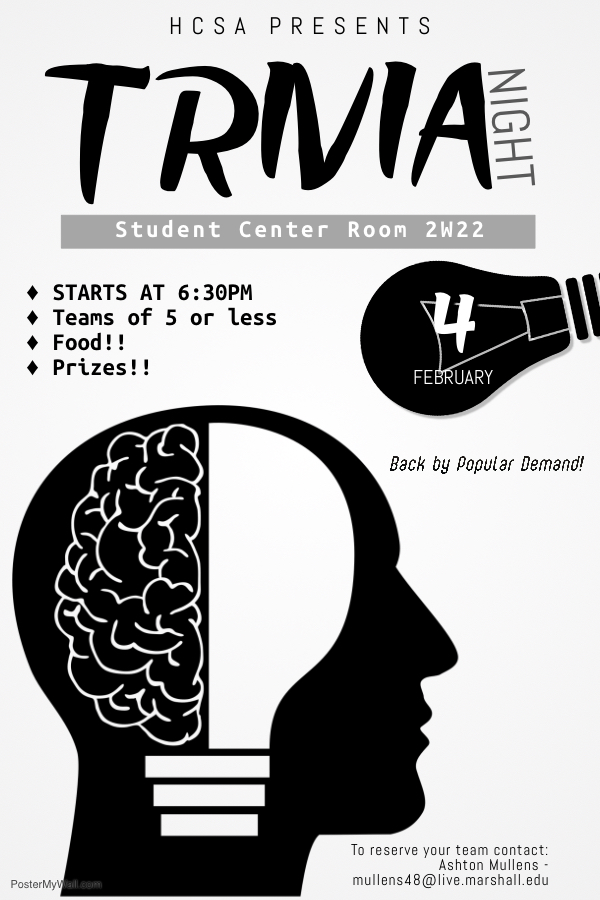 Honors College Student Association Trivia Night Poster for Spring 2019