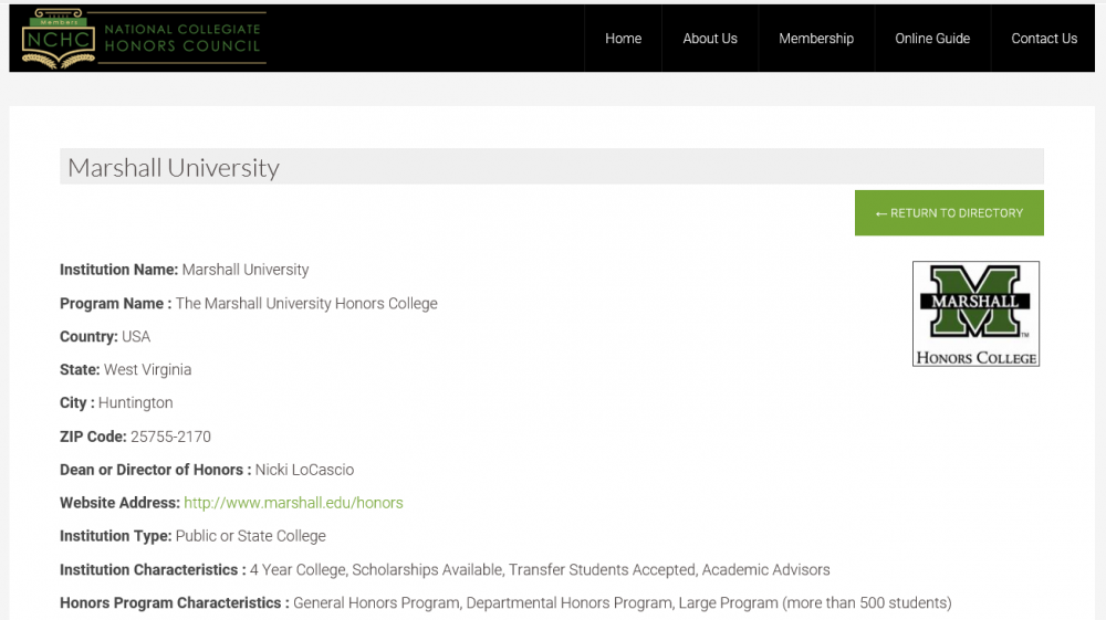 NCHC Online Guide entry title page screen capture for Marshall University