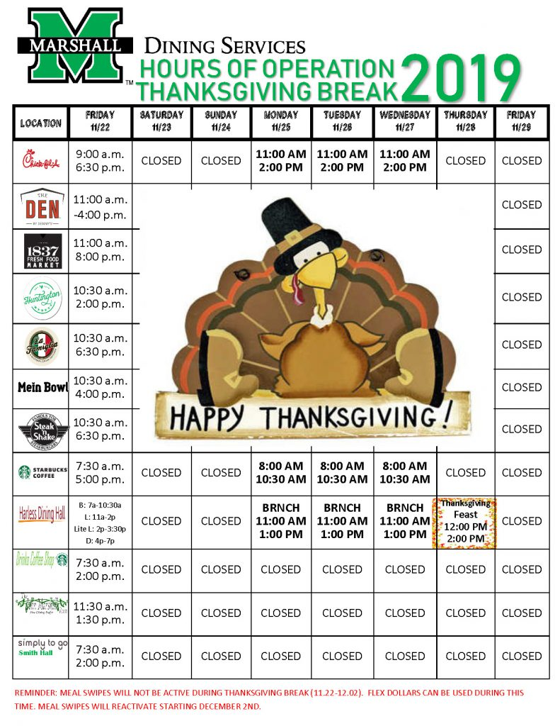 2019 Fall Break Dining Hours of Operation