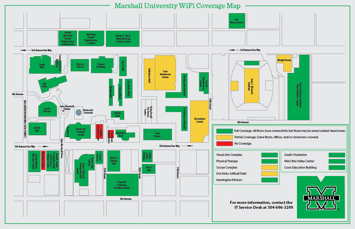 Marshall University Campus Map WiFi Coverage Map   Information Technology   Marshall University