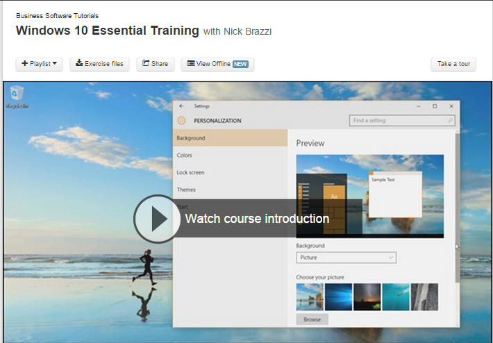 screen shot of lynda.com training for Windows 10