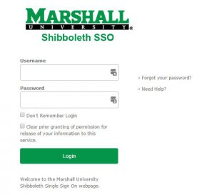 Shibboleth Login Screen Sample