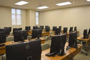 Classrooms in the Arthur Weisberg Family Applied Engineering Complex have light sensors that turn off or on when there is movement in the room, and dim or brighten based on the amount of light coming in through the windows. Desks, chairs and other furnishing in the complex are made from regional materials.