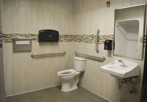 The storm water restroom in the complex uses rainwater in the toilet to conserve water and take relief off of the city's storm drain system.