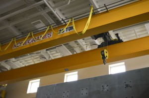 The 20 ton crane in the Engineering Complex is used for lab work and research.