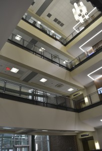 The atrium in the Engineering Complex lets natural light in, reducing energy costs.