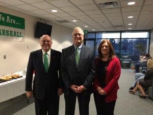 Left to right. President Gary G. White, MOVC Director Homer K. Preece, MOVC Associate Director Sheila Fields