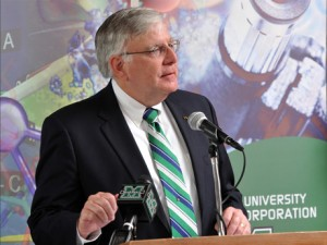 Marshall University President Stephen J. Kopp announcing Marshall's CTSA partnership with the University of Kentucky on June 14, 2011.