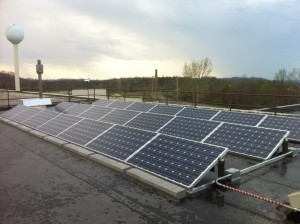 Photo of solar panel array at Mount View High School in Welch