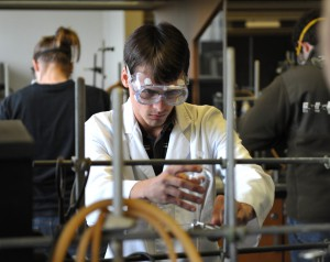 Photo of Marshall University student in the lab