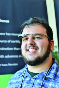 Photo of Dylan Watson wearing Google Glass