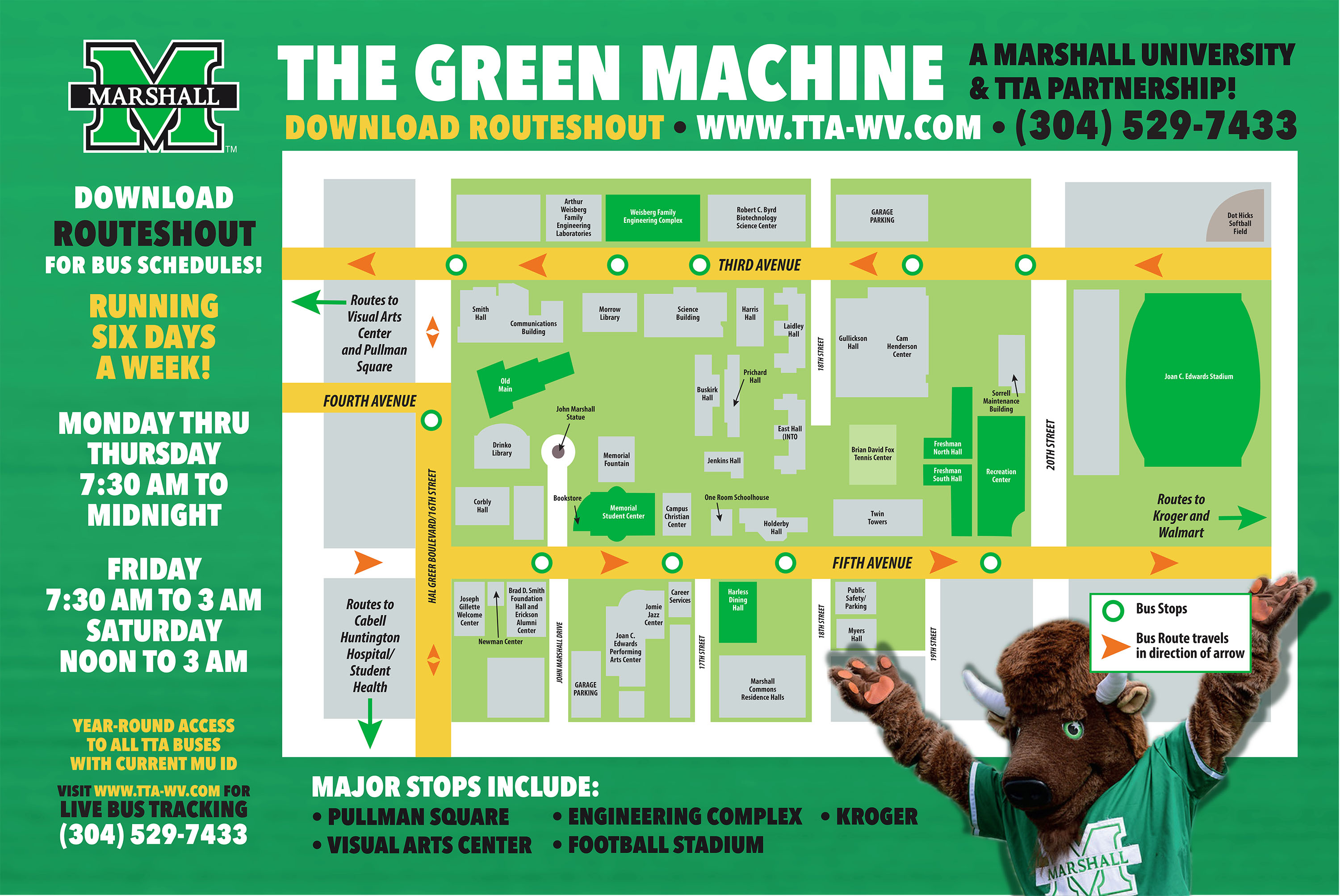Green Machine, Marshall Bus, Safe, Safety, TTA, Tri-State Transit Authority, Ride