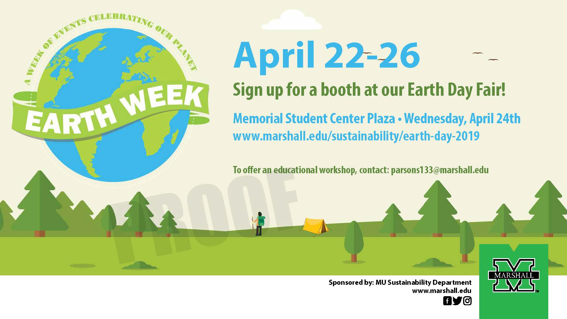 Earth Week April 22 – 26, 2019 – Sustainability Department