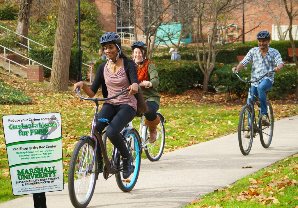 Students bicycling on campus