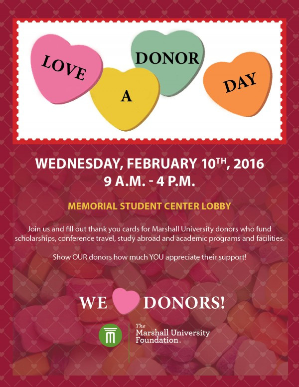 'Love a Donor Day' set for next Wednesday, Feb. 10