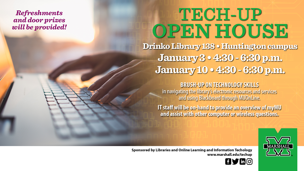Marshall Libraries and Online Learning Information Technology to host Tech Up sessions Jan. 3 and 10  sc 1 st  Marshall University & Marshall Libraries and Online Learning Information Technology to ...