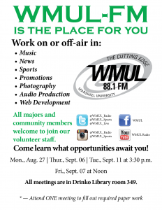 Fall 2018 WMUL-FM Recruitment Meeting Flyer