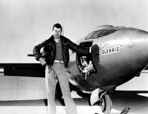 Capt. Charles E. Yeager (shown standing next to the Air Force's Bell-built X-1 supersonic research aircraft) became the first man to fly faster than the speed of sound in level flight on October 14, 1947. (U.S. Air Force photo)