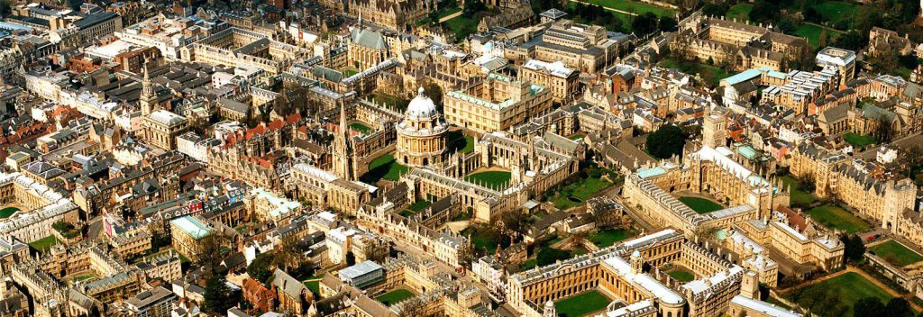 Aerial shot of the University of Oxford in England