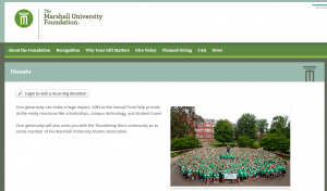 The Marshall University Foundation Gift/Donation Portal