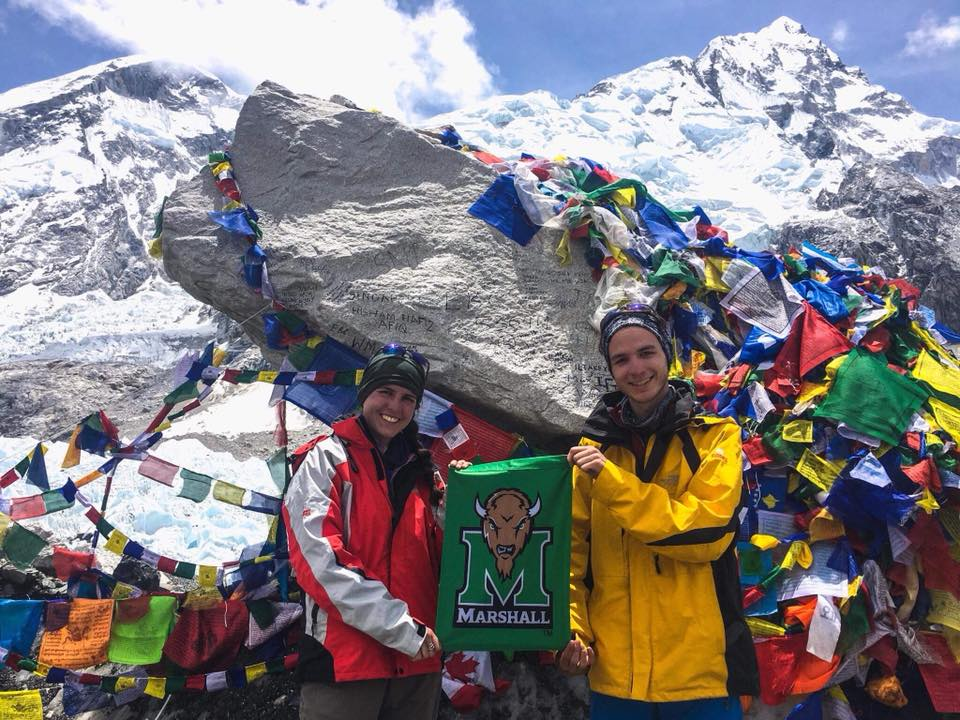 Yeager Scholars Liz Adams and Luca Brambilla at the Mt. Everest base camp.
